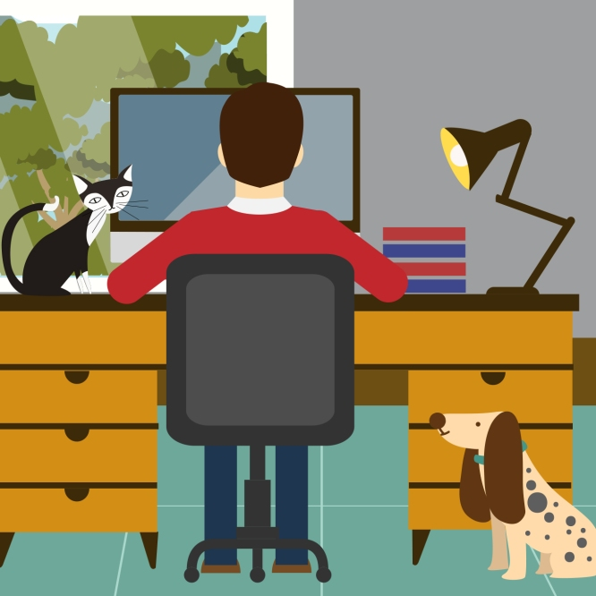 Illustration of a man working at desk using a computer with cat and dog present.