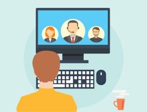 Virtual meeting through the computer using an app such as Teams.